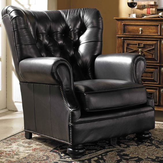 No new traditional living room is complete without an oversized, luxuriously comfortable leather armchair, like this one from Stickley!