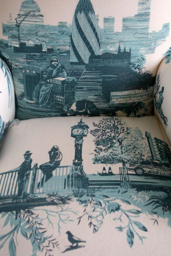 Timorous Beasties Fabric - London Toile  Interiors/ English scene