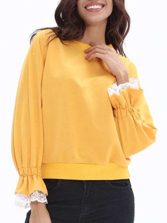 Round Neck Elastic Cuff Sweatshirt