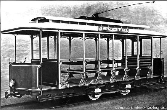 "...tram intercomunale ""Milano-Monza"" vettura estiva aperta EDISON - '1898 - © Umberto Garbagnati -"