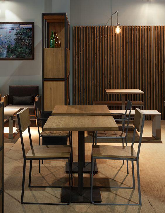 Mesa restaurante loft estilo industrial madera roble Rochester visón