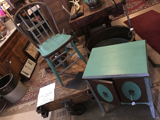 antique bentwood chair and record cabinet brought together with paint