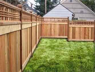 Cedar fence designs google search garden pinterest for Craftsman style fence