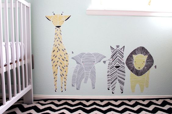 Bring the safari indoors with this set of 4 reusable for Safari fabric for nursery