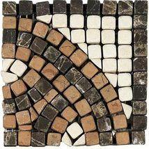 Emperador Dark Crema Marfil Rojo Alicante Accent Corner - Marble Collection by daltile