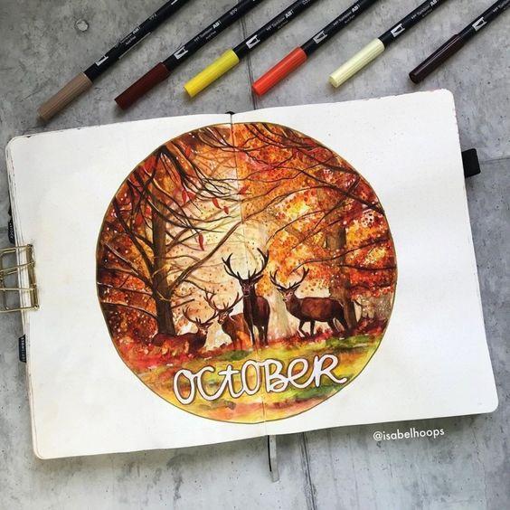 C'est l'automne dans votre bujo ! (page par @isabelhoops)