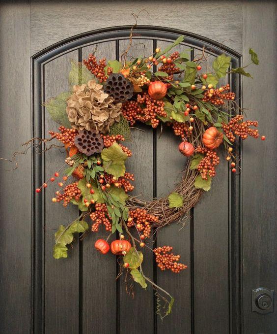 """Fall Wreath Autumn Wreath Orange Berry Grapevine Door Wreath Decor """"Pumpkin Vines"""""""