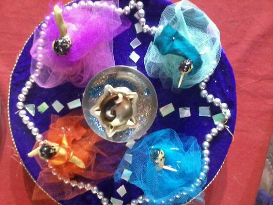 Diy and crafts beads and old cds on pinterest for Aarti thali decoration with grains
