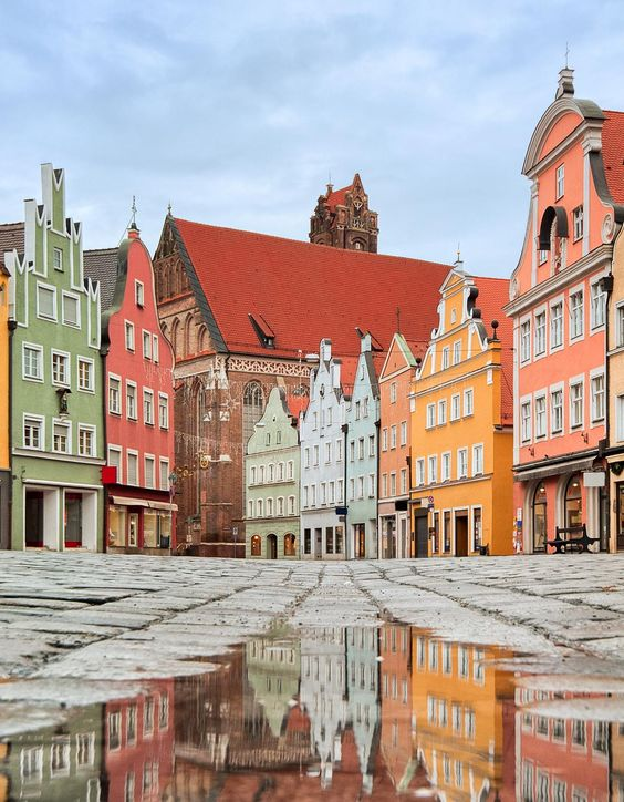 A street of colorful facades in Munich, Germany - (Europe):