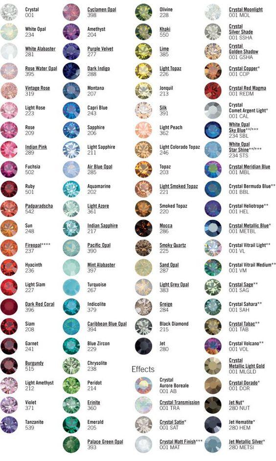 Swarovski Rhinestone Color Chart