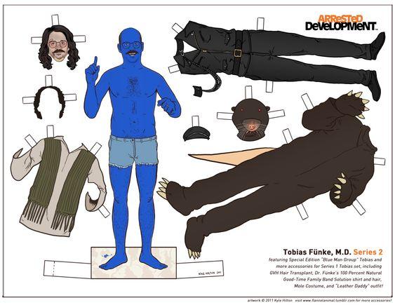 Figurines en papier des personnages dArrested Development figurine papier arrested devellopment poupee illustration 08 design bonus