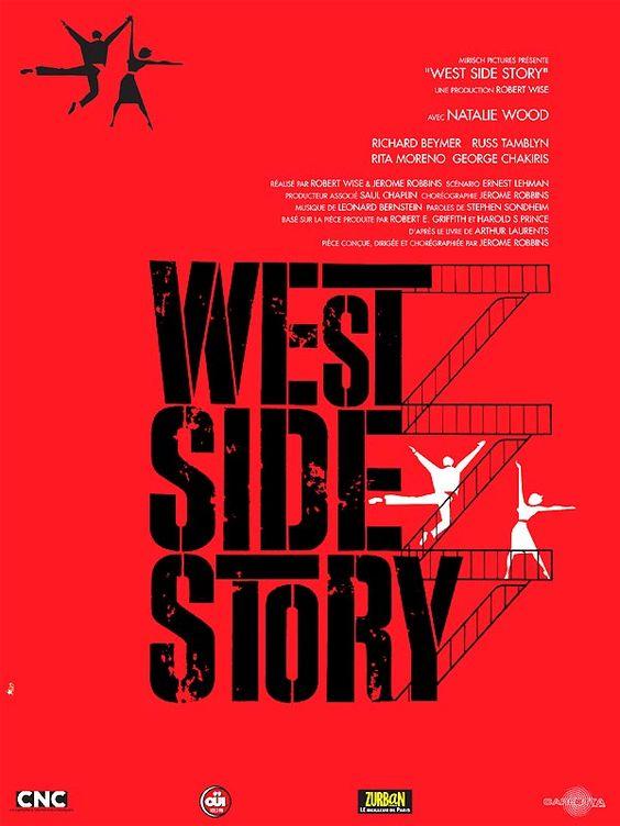 West Side Story est un film de Robert Wise de 1962  avec Natalie Wood, Richard Beymer. Synopsis : Dans le West Side, bas quartier de New York, deux bandes de jeunes s'affrontent, les Sharks de Bernardo et les Jets de Riff. Un ex des Jets, Tony, s'éprend de Maria, la soeur de Bernardo...