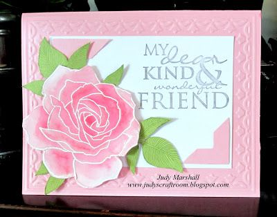 handmade friendship card from Brown Paper Packages ... gorgeous rose from Fifth Avenue Floral set by Stampin' Up!