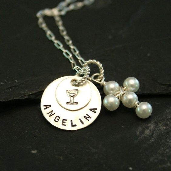 Sterling 1st communion necklace by charmsoffaith on etsy 29 00