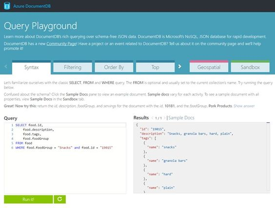 Check out the new #Azure #DocumentDB Query Playground and query