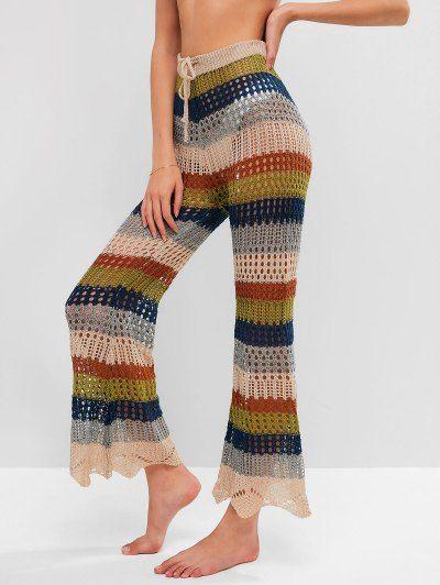 lace pants flared pants boho pants rainbow crochet pant crochet beachwear pants festival clothing Crochet hippie pants women/'s pants