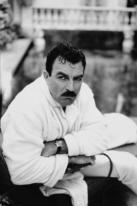 Tom Selleck, male actor, celeb, moustache, powerful face, masculin, macho, steaming hot, sexy, portrait, photo b/w.