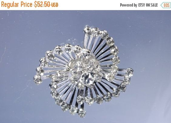 Sale Signed CORO Rhinestone Brooch Pinwheel by WhiteCabbageVintage