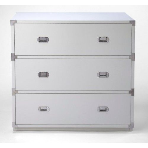 White Wood Chest Of Drawers Silver Hardware Campaign Dresser Silver Home Accessories White Dresser Decor