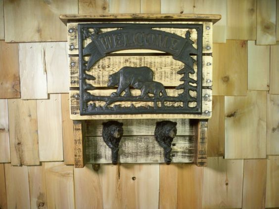 Upcycled Pallet Bear coat rack and shelf by mycave on Etsy, $65.00