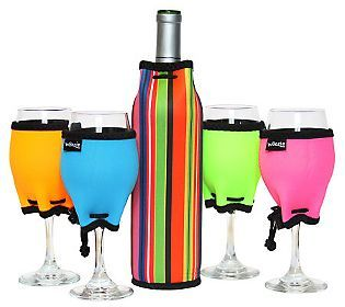Set of 4 Wine Glass Woozies and Wine Bottle Woozie