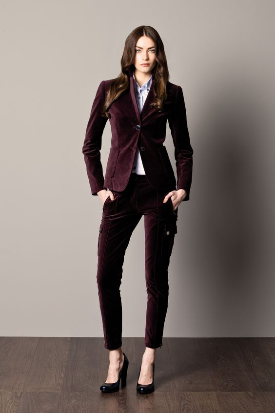 Velvet Burgundy Womanu0026#39;s Suit And Shirt With Stripes | A/W 12-13 For Her | Pinterest | Suits ...