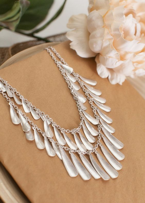 Silver Layered Droplet Statement Chain Necklace by NEMACollections, $22.00