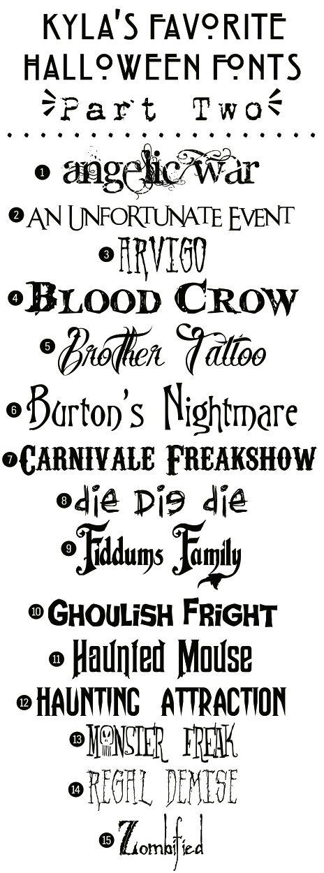 Funky Polkadot Giraffe: Kyla's Favorite Free Halloween Fonts: {Part Two}  ~~ {15 free fonts w/ links} <3