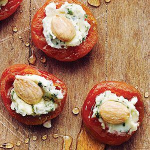 No Cooking Required--Apricots with Basil-Goat Cheese and Almonds | MyRecipes.com