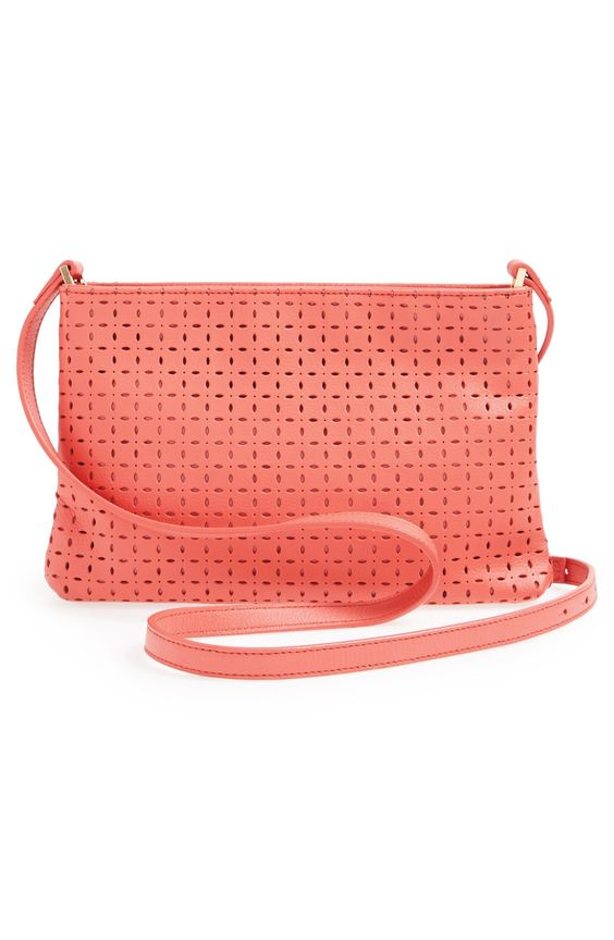 This perforated coral crossbody is perfect for spring.