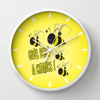 Give bees a chance ! Wall Clock by mangulica - $30.00