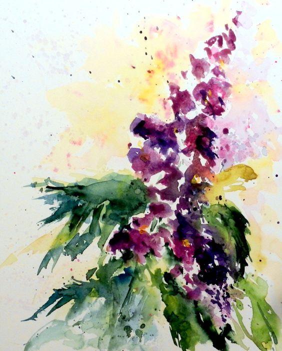aquarell, watercolor, aquarelle, blume, flower, fleur, rittersporn, larkspur, delphinium, pied-d'alouette,