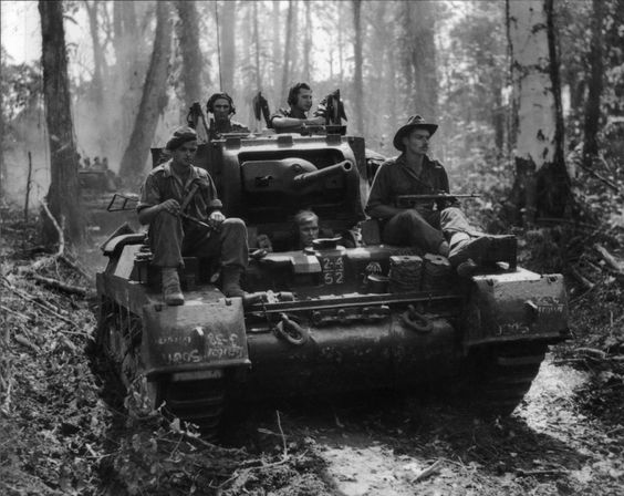 A Matilda tank of the Australian 2/4th Armored Regiment on the Buin Road, Bougainville, 1945.