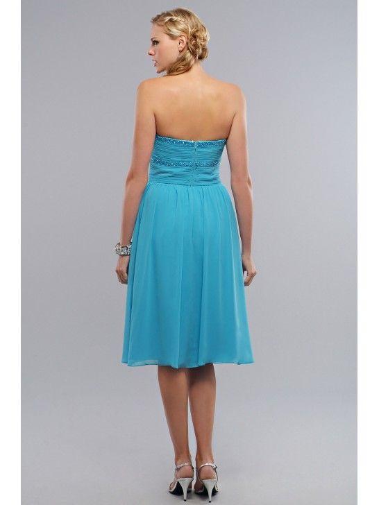 SIMPLE ELEGANT CHIFFON, CHARMEUSE STRAPLESS SHORT TEA-LENGTH BRIDESMAID DRESS LB225