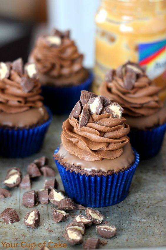 Double Chocolate Peanut Butter Cupcakes. This is love.