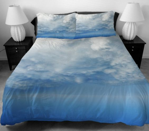 Girls Bedding for Girls Home Decorating Set 2 Sides Printing The White  Clouds With Blue Sky. Girls Bedding for Girls Home Decorating Set 2 Sides Printing The