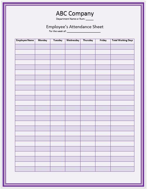 Simple attendance sheet template
