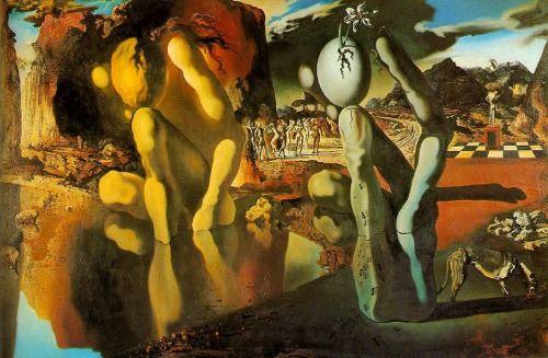 """Métamorphose de Narcisse - Salvador Dalí, 1937, óleo en lienzo ––––––––––––––––––––––––––––––– - De el periodo """"paranoico crítico"""" - Un cuento de mitología griego - ¿Un hombre, o un mano con un huevo? - Una flora narciso en el """"huevo"""" - Dalí escribía una poema acompañar la pintura:"""