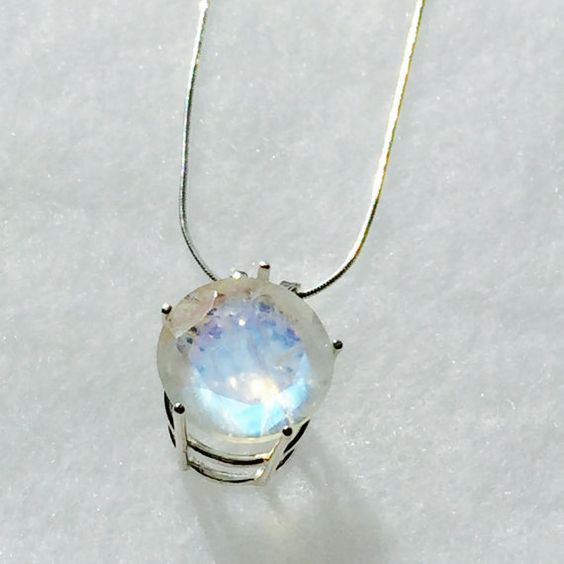 Rainbow Moonstone Necklace in Sterling Silver by NorthCoastCottage