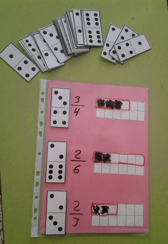 Tarjetas de dominó para trabajar el concepto de fracciones