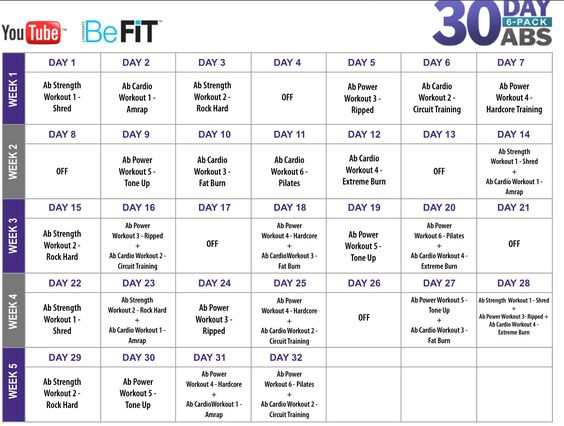 Workout Calendar For Abs : Workout videos free and ab routine on