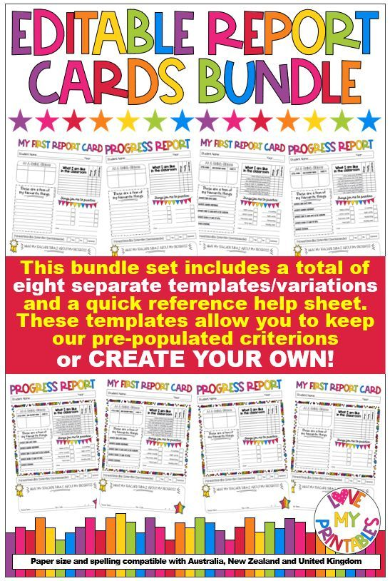 Editable Report Cards Bundle Set For Early Primary 8 Template Variations Tpt Aus Nz Uk Report Card Template Progress Report Report Card