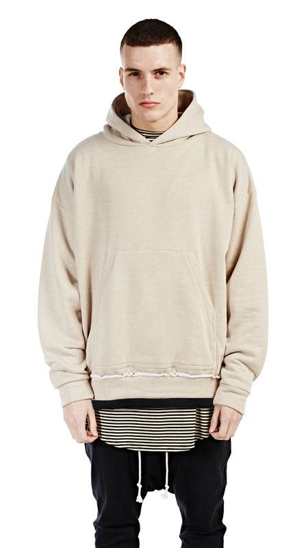 men loose baggy khaki beige hoodies casual streetwear urban men's ...