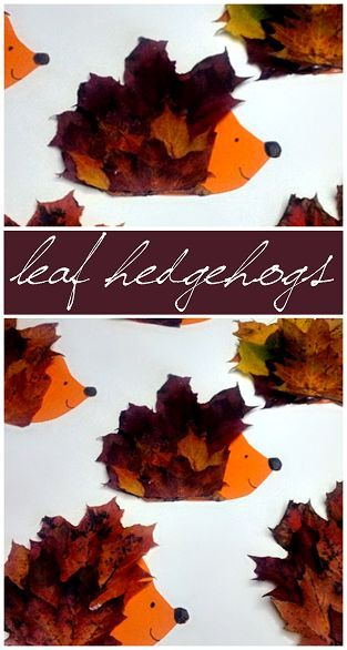 Make a Hedgehog Craft Using Leaves #Fall Craft for kids to make! #Leaf art project | CraftyMorning.com: