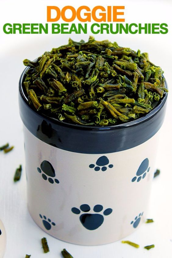 DIY Pet Recipes For Treats and Food - Doggie Green Bean Crunchies - Dogs, Cats and Puppies Will Love These Homemade Products and Healthy Recipe Ideas - Peanut Butter, Gluten Free, Grain Free - How To Make Home made Dog and Cat Food - http://diyjoy.com/diy