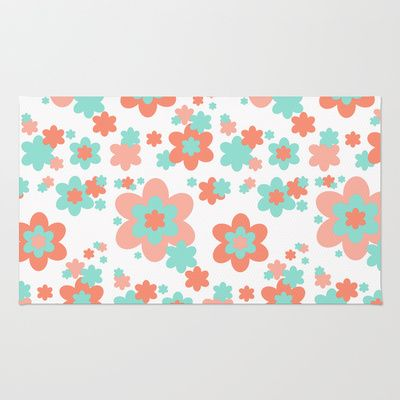 Coral And Mint Green Floral Rug Mint Green Children And