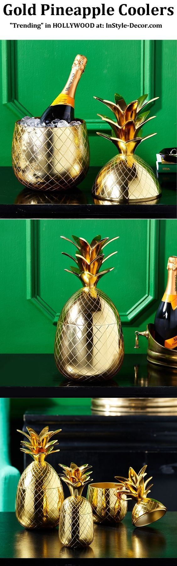 """Gold Pineapple"" ""Gold Pineapples"" ""Gold Pineapple Ice Bucket"" Designs By www.InStyle-Decor... HOLLYWOOD Over 5,000 Inspirations Now Online, Luxury Furniture, Mirrors, Lighting, Chandeliers, Lamps, Decorative Accessories & Gifts. Professional Interior Design Solutions For Interior Architects, Interior Specifiers, Interior Designers, Interior Decorators, Hospitality, Commercial, Maritime & Residential. Beverly Hills New York London Barcelona Over 10 Years Worldwide Shipping Experience"