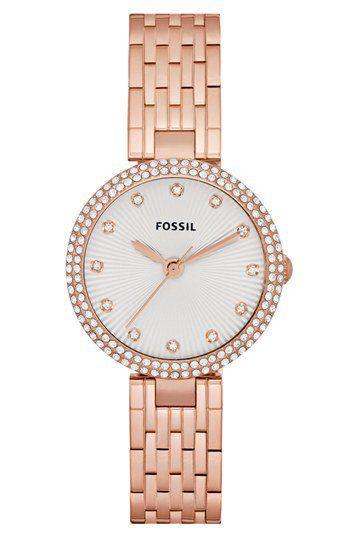 Fossil 'Olive' Crystal Bracelet Watch, 28mm | Nordstrom on Wanelo