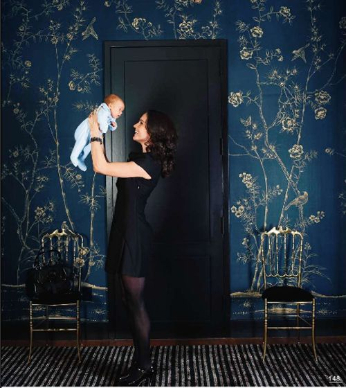 Dark blue wallpaper. Not normally a wallpaper fan, but kinda pretty for bedroom or library...