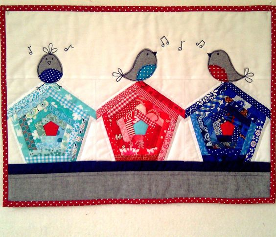 "mini quilt -- today's obviously a ""pin cute birds"" day:"